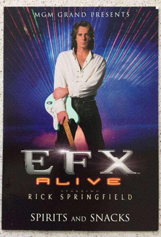 rick springfield Program From EXX Show Las Vegas