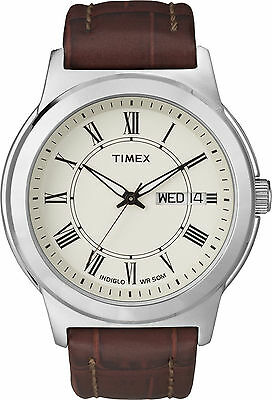 Timex T2E581, Men's Brown Leather Watch, Indiglo, Day/Date T2E5819J