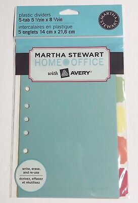 Martha Stewart With Avery 5-tab Plastic Dividers Reusable New