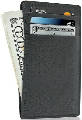 c8dd461e86e4 New Genuine Leather Slim Card Holder Wallets For Men - Minimalist RFID  Blocking