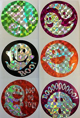 Boo Halloween Party (25 Foil Prism Ghost Halloween Stickers Party Favors Teacher Supply)