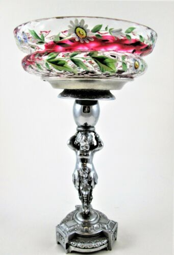 Antique CRANBERRY SWIRL & Enamel Floral BRIDES BOWL basket  - CHERUB pedestal