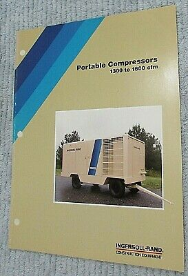 Old 1989 Ingersoll Rand Portable Air Compressor 1300-1600 Cfm Brochure Free Sh