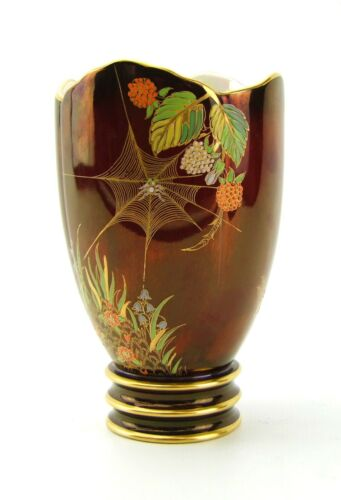 Carlton Ware - Spider Web Pattern - Rouge Royale Vase - Made in England