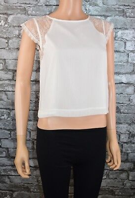 Women's Elegant Ivory White Lace & Voile Open Back Top Blouse Uk Size 10