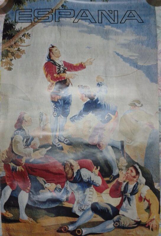 Vintage rare travel poster Spain tapestry Tapiz La Cometa Francisco de Goya
