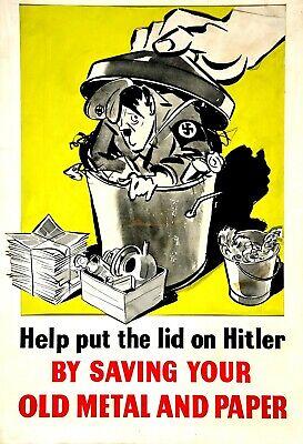 Hitler Propaganda Posters (US SELLER-Help put the lid on Hitler World War II Propaganda poster cool art )
