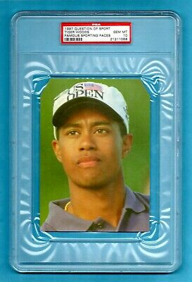 1997 UK Question Of Sport QOS Tiger Woods 1996 US Open game rookie card PSA 10