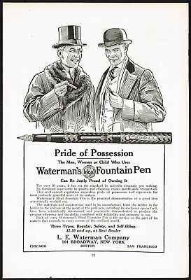 1920s Original Vintage Waterman Ideal Fountain Pen Men's Fashion Art Print Ad