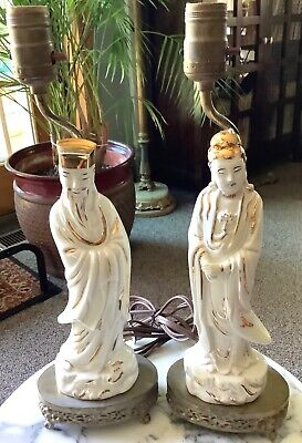 Pair of Vintage Asian Figurines White w/Gold Ceramic Table Lamp-Brass Base