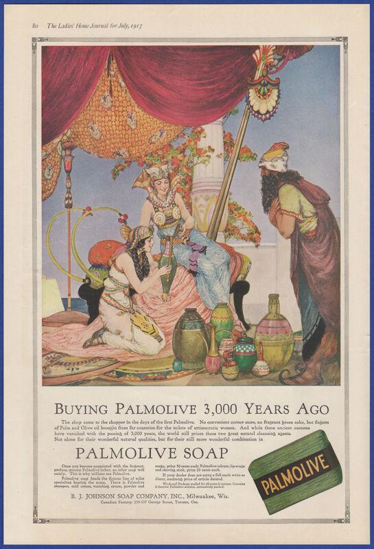 Vintage 1917 PALMOLIVE Soap Bathroom Egyptian Art Decor Print Ad