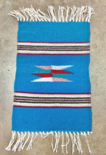 Chimayo Mat, New Mexico, Southwest, Wool, Blue, Textile, 15x10, Weaving