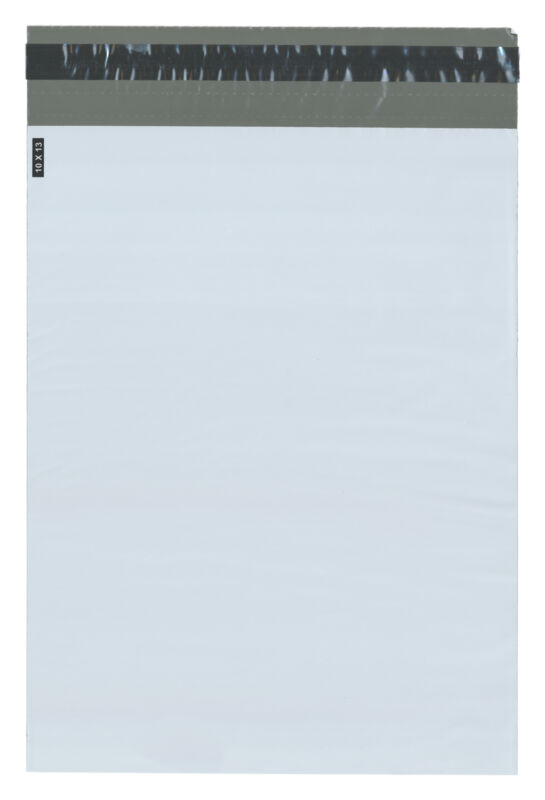 "Plymor Poly Mailer White/Gray Bag w/ Closure and Strip, 10"" x 13"" (Case of 1000)"