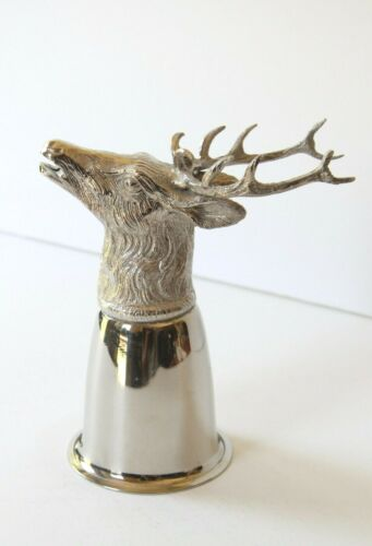 GUCCI VINTAGE SILVER PLATED STIRRUP CUP ELK/STAG  1970