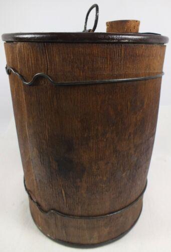 Antique Wood - Wrapped Metal Drug Barrel  /  Black Powder Keg W/ Twisted Wires