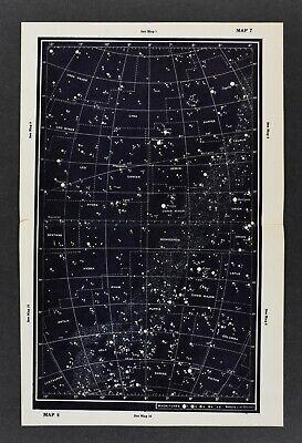 1961 Gall & Inglis Star Map Equator Ecliptic Gemini Castor Sirius Betelgeuse Leo