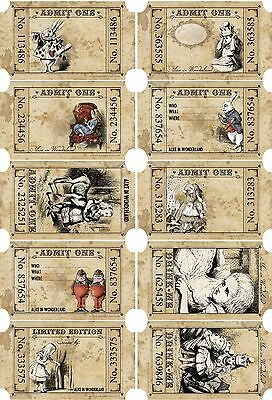 Alice in Wonderland 15  party favors tea party tickets scrapbooking crafts](Wonderland Parties)