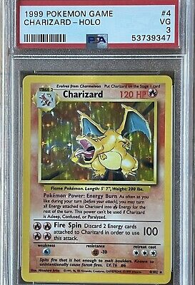1999 Pokemon PSA 3 Unlimited Charizard Holo. Looks Much Nicer! New Label. Resub?