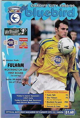 CARDIFF CITY  V FULHAM  LEAGUE CUP 18/8/98