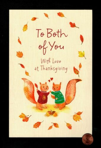 Thanksgiving Squirrels Leaves Hearts GLITTERED LARGE - Greeting Card W/ TRACKING