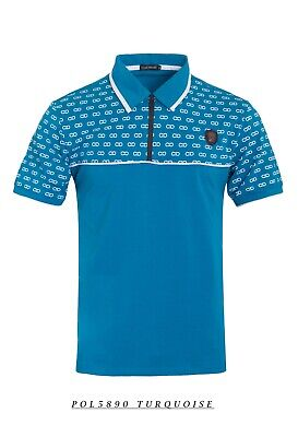 New Mens Short Sleeve Polo Shirt Slim Fit Stretch Turquoise CD Print Zip Up Short Sleeve Printed Zip
