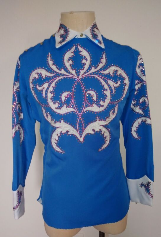 Vintage Western Parade shirt Rhinestones Embroidery Custom made in Nudie Style