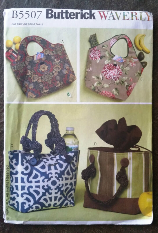 Butterick Pattern B5507 Waverly Handbag, Tote, Lunchbag, NEW