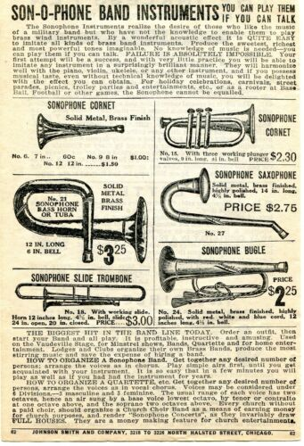 1919 small Print Ad of Son-O-Phone Sonophone Cornet, Saxophone, Bugle & Trombone