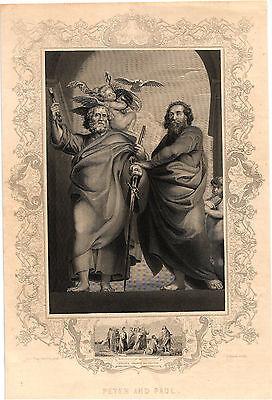"""Early Religious Steel Plate Engraving  """"Peter & Paul""""    Peter Paul Ruebens Pinx"""