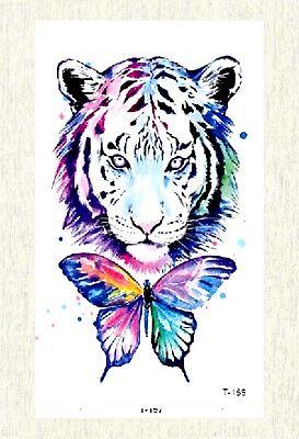 US SELLER, fake tattoos look real watercolor tiger butterfly temporary tattoo - Tiger Butterfly Tattoo
