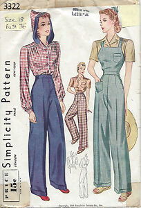 1940 Vintage Sewing Pattern B36-W30 BLOUSE-TROUSERS-OVERALLS (R807)