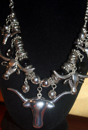 "Silver-Tone Longhorn Chain Necklace - Silver & Black Beads 18"" Long + Extension"