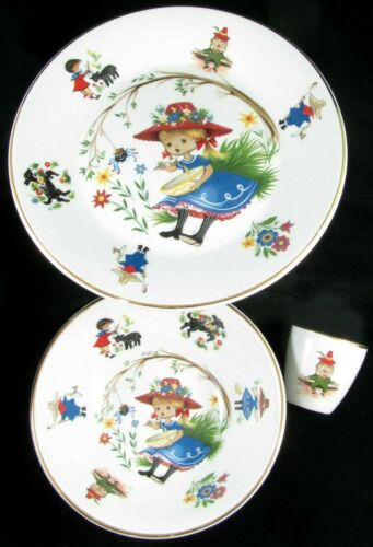 ARKLOW Nursery Rhyme China Little Miss Muppet Plate, Bowl, Humpty Dumpty Egg Cup