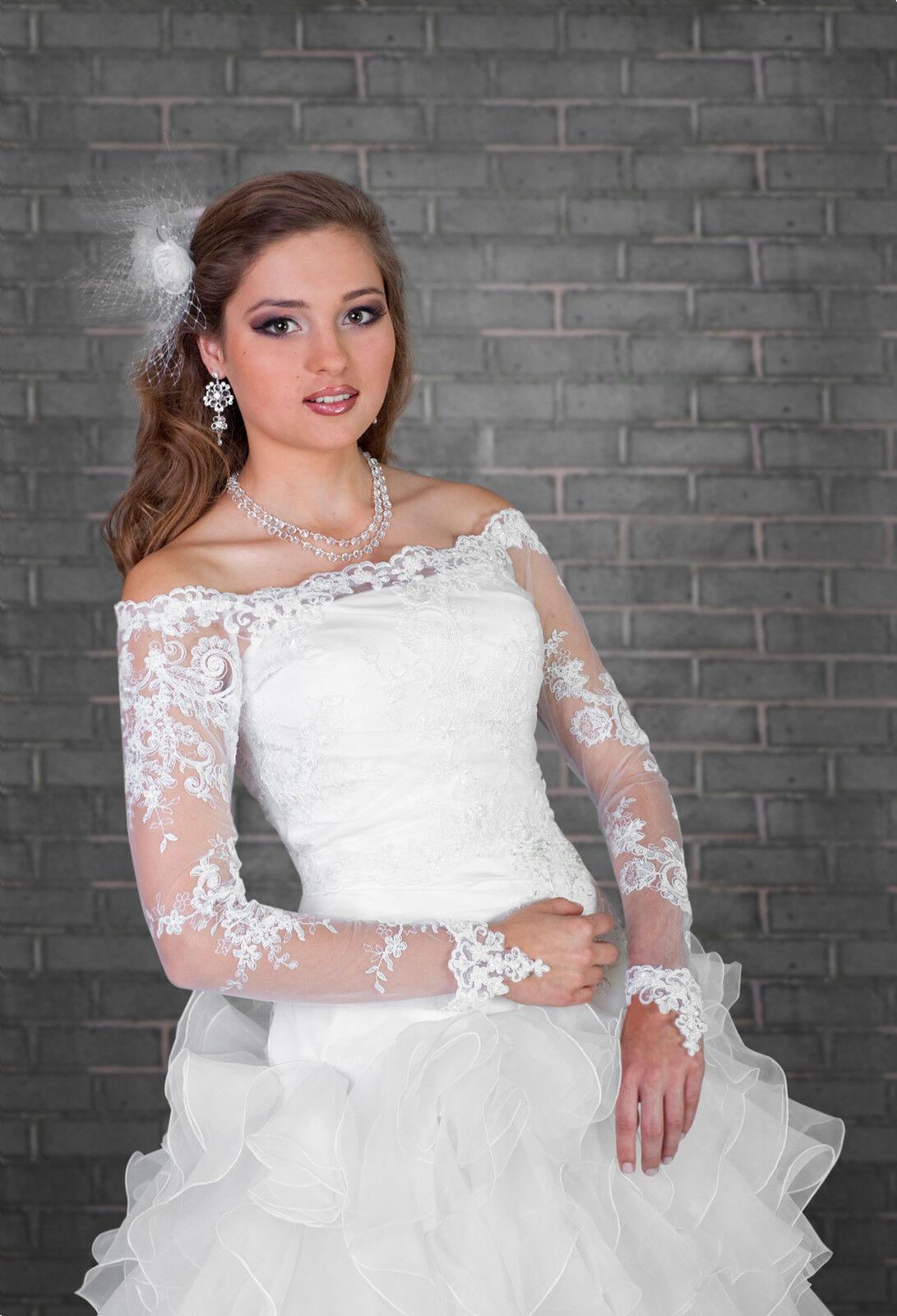 75d757ce30cdb New Luxury Womens Bridal Lace Bolero Shrug Wedding Jacket Long Sleeve  S/M-L/XL