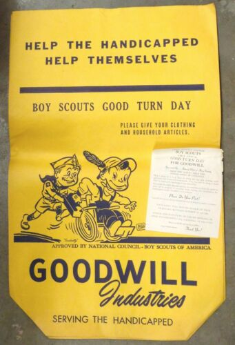 Vintage GOODWILLY BOY SCOUTS GOOD TURN DAY BAG GOODWILL WHEELCHAIR Caniff