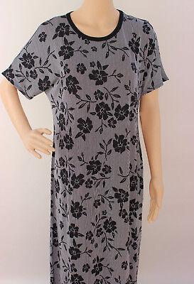 Xl Lularoe Maria Dress Noir Blanc White Black Floral Stripes Soft Stretchy 06