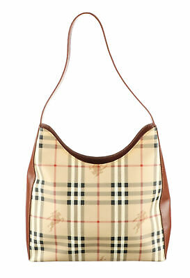 BURBERRY Tan Haymarket Check Coated Canvas Hobo Bag