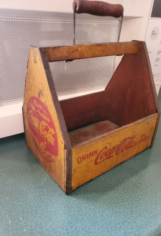 Antique 6 Pack Wooden Coke Cola Tote Carrier