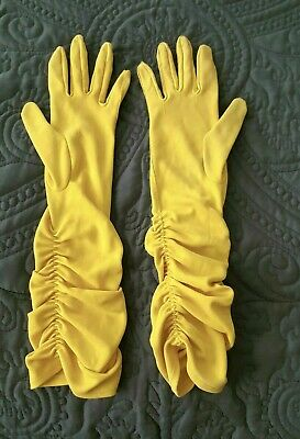 Yellow Costume Gloves (1 Pr. Women Child Yellow Long GLOVES Halloween Theater Costume XS Extra Small)