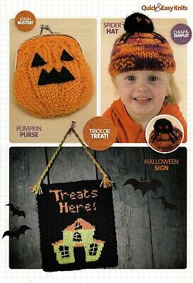 KNITTING PATTERN QUICK EASY HALLOWEEN SIGN SPIDER HAT PUMPKIN PURSE SKM AUA