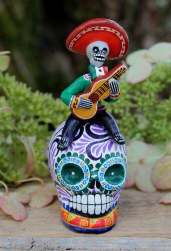 Sm Musician Guitar Sugar Skull Day of the Dead Handmade Puebla Mexican Folk Art