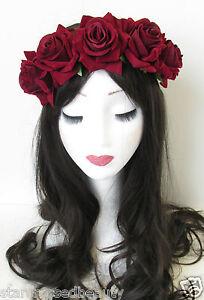 Deep Red Rose Flower Headband Hair Crown Festival Boho Garland Vtg Burgundy N06