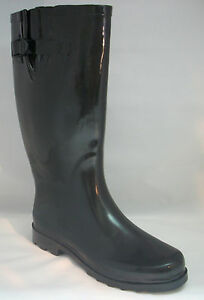 New Women's Flat Wellie Wellington Knee High Rubber Snow \ Rain Boots, Size 5-10