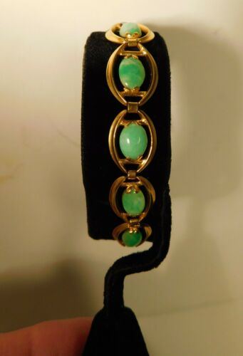 ANTIQUE CHINESE 14K PURE YELLOW GOLD & JADE BRACELET,ESTATE