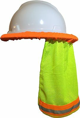 Safety Hard Hat Neck Shield Helmet Sun Shade Hi Vis Reflective Stripe - Yellow