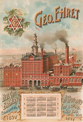 Geo Ehret Hell Gate Brewery 1897 New York City Brewing Beer Vintage Poster 17x22