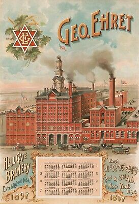 Geo Ehret Hell Gate Brewery 1897 New York City Brewing Beer Vintage Poster 13x19