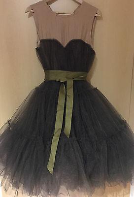 Lanvin H&M Kleid dress Seide Tüll Luxus pur Nude/Dark Taupe EUR 38 US 8 UK 12