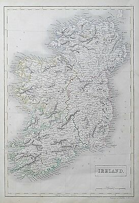 1844 IRELAND GENUINE ANTIQUE MAP Engraved by Sidney Hall / Black