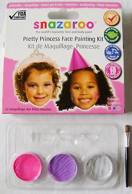 NEW SNAZAROO PRETTY PRINCESS FACE PAINTING PAINTS & BRUSH KIT PINK PURPLE SILVER](Princess Face Painting)